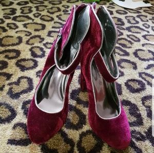 Burgundy Chunky Heels